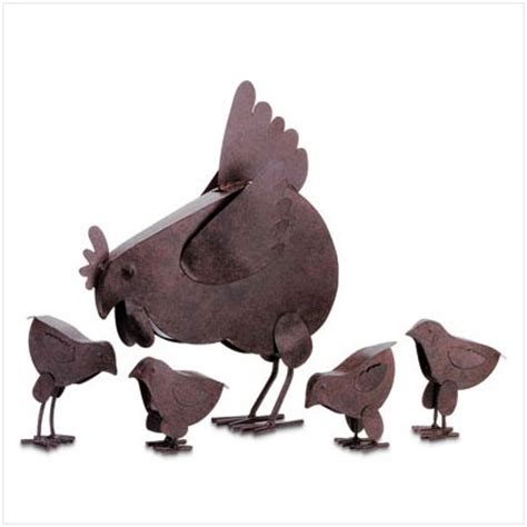metal chicken yard sculptures lawn and garden decor