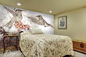 Papier Peint Chambre À Coucher : comme un oiseau multicolore papier peint pour le chambres coucher papiers peints demural ~ Nature-et-papiers.com Idées de Décoration