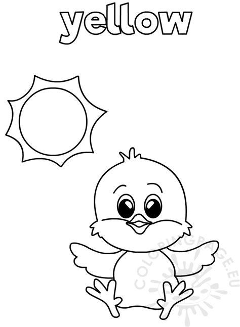 yellow coloring worksheet  kindergarten coloring page