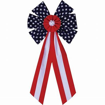 Flag Bow American Patriotic Bows Bunting 10pc