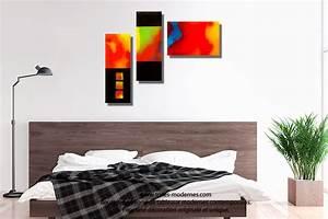 Tableau Plusieurs Panneaux : tableau nouveau art d co color triptyque panoramique ~ Teatrodelosmanantiales.com Idées de Décoration
