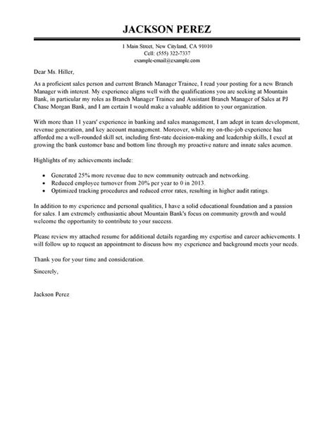 best branch manager trainee cover letter exles livecareer