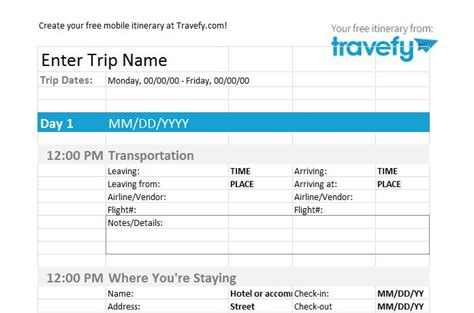 itinerary template 30 itinerary templates travel vacation trip flight