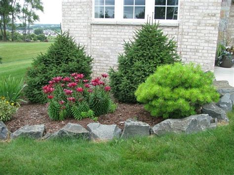 rock garden with decorative flower bed landscaping