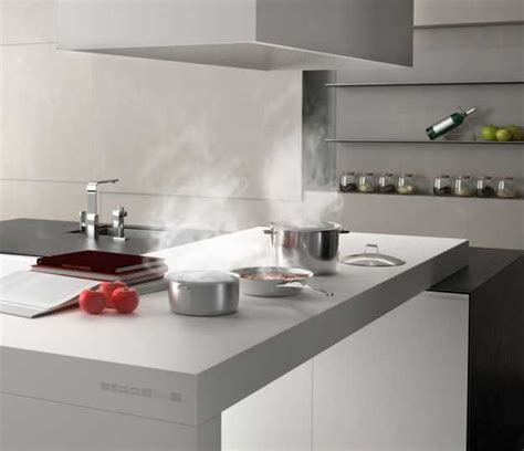 Outdoor Kitchen Countertops Ideas - new kitchen countertop material creating clean contemporary kitchen design with invisible cooktop