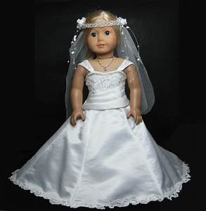 Wedding dress with pearl veil that fit american girl doll for American girl doll wedding dress