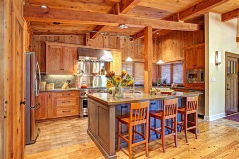 rustic cedar kitchen  spacious island modern