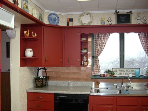 perfect red country kitchen cabinet design ideas for furniture display storage above wooden cabinet painted