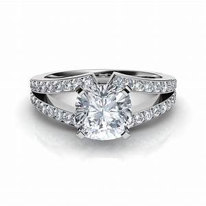 split shank cushion cut diamond engagement ring With wedding rings cushion cut
