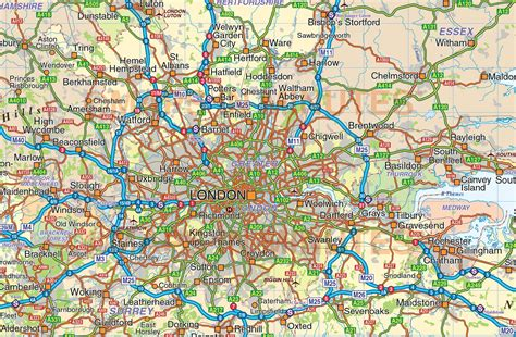 vector south east england map county political road