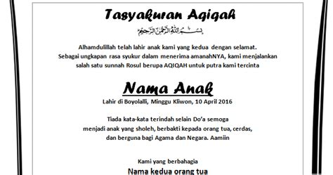 contoh tulisan syukuran aqiqah agung id
