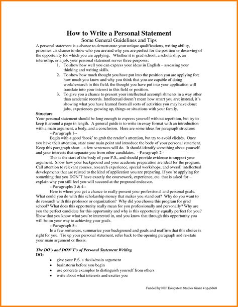 How To Write A Personal Statement For by 8 Personal Statement Letter Sle Statement 2017