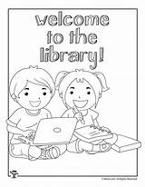 Library Coloring Pages Printable Activities Welcome Hidden Drawing Word Puzzles Woo Jr Preschool Woojr Reading Books Librarian Printables Skills Bookworm sketch template