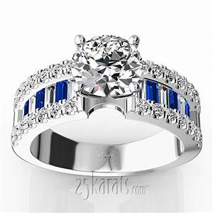 engagement ring with sapphire and diamond baguettes 125 With diamond and sapphire wedding rings