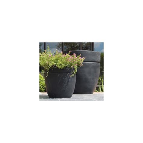 pot rond fibre de verre noir 18 litres diam 30 x h 30cm plantes et jardins