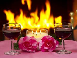 Massa, Two, Pink, Roses, Lamp, Lit, Candles, Two, Glasses, Of, Red, Wine, A, Fireplace, With, A, Fire, Lit