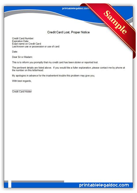 printable credit card lost form generic