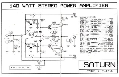 skena 140 watt stereo power lifier saturn s 054 elektronika analog dan digital