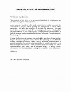 Letter Of Recommendation Examples Sample Templates