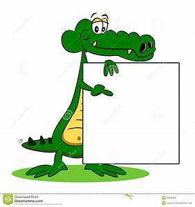 A Cartoon Crocodile With Sign Stock Photography - Image ...