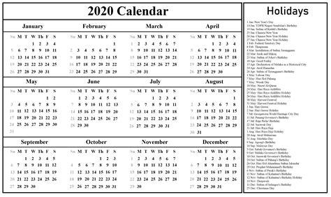 blank malaysia calendar excel word format