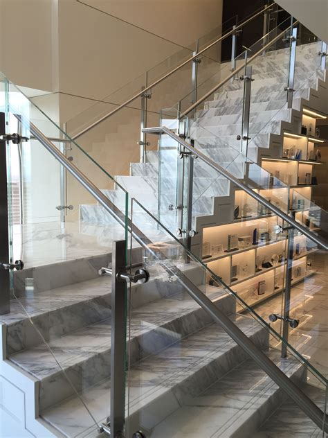 glass stair banister glass railing with stainless steel glass cls modern
