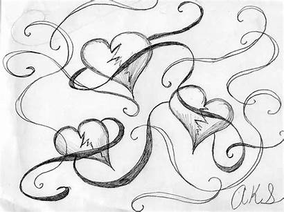 Broken Drawings Heart Hearts Tattoo Coloring Line