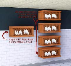 mod  sims overachieving plate rack  slots  wall movement