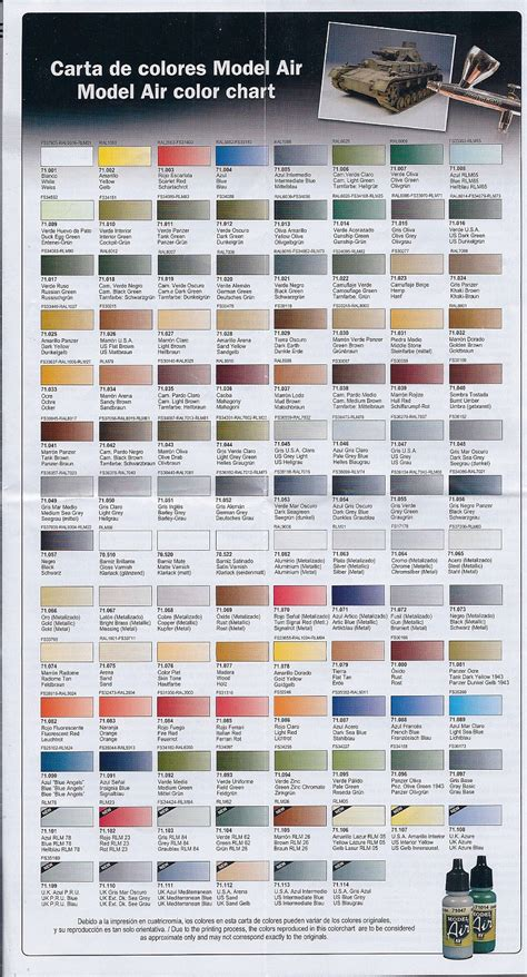 vallejo model color chart images