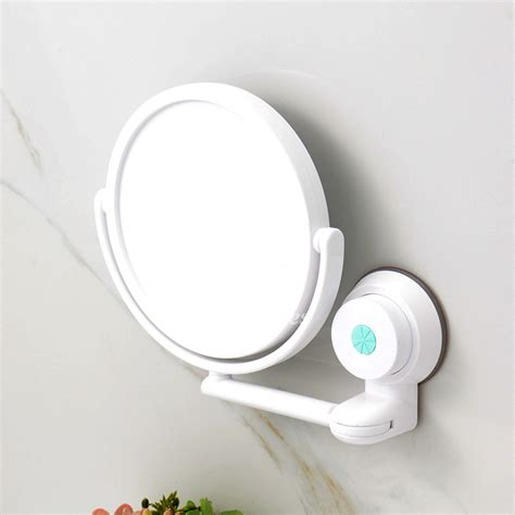 Bathroom Suction Mirror modern suction cup small makeup mirror white bathroom plastic