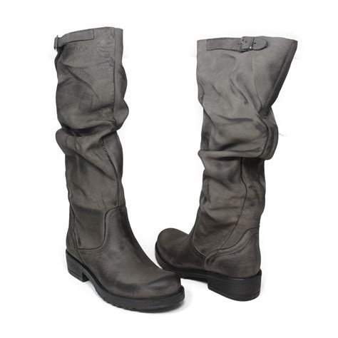 real leather biker boots high biker boots in genuine leather gray fall winter