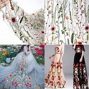 135100cm floral flower embroidery mesh wedding bridal With floral embroidered wedding dress