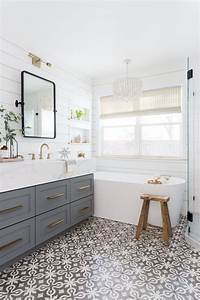 Light, U0026, Airy, Bathroom, With, Shiplap, Patterned, Tile, U0026, Mixed