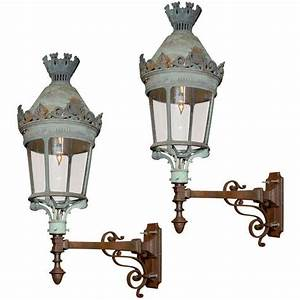 Pair, Of, French, Lanterns, Mounted, On, Cast, Iron, Brackets, For, Sale, At, 1stdibs