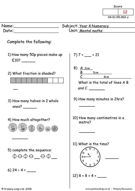 numeracy mental maths  worksheet primaryleapcouk