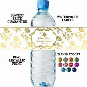 Personalized wedding water bottle labels real metallic for How to put labels on water bottles