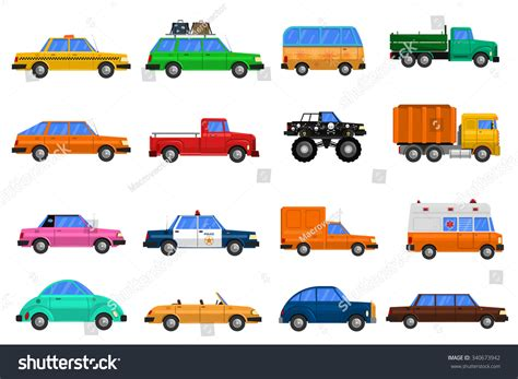 Different Types Cars Icons Set Bus Stock Vector 340673942
