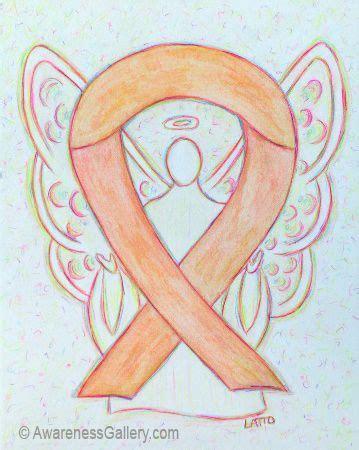 peach uterine  endometrial cancer awareness ribbon angel art painting awareness angels art