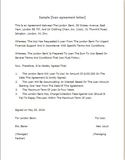 loan agreement letter templates  word word excel