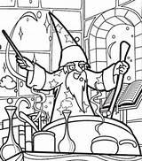Coloring Potion Magic Merlin Wizard Making Cartoon Doghousemusic Sheets sketch template