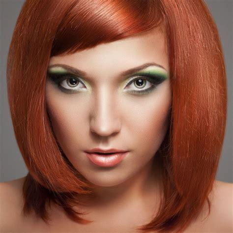 frisuren rote haare asymetrischer bob cut f 252 r rote haare und gr 252 ne augen