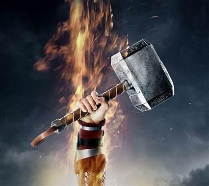 Mobile Thor Hammer Wallpapers Avengers Phone Fire