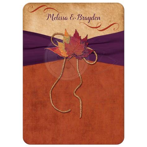 wedding invitation autumn leaves orange purple printed ribbon twine bow