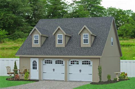 prefab 2 car garage prefab garages with attic loft space two car garages amish