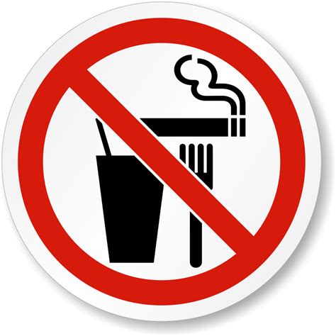 Do Not Eat, Drink Or Smoke Iso Prohibition Symbol Label