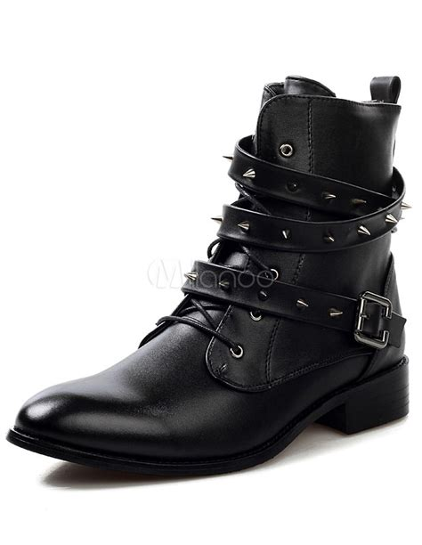 Black And White Cowhide Boots by Black Studded Cowhide Boots With Medium Cut Milanoo