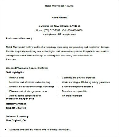 Retail Pharmacist Resume by Pharmacy Manager Resume