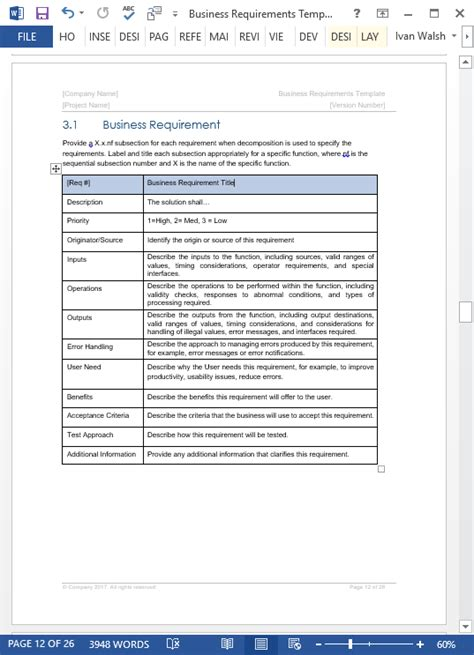 business requirements template business requirements specification template ms word excel visio