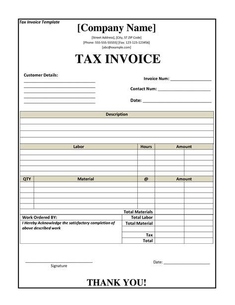 tax invoice template nz invoice
