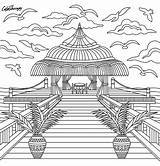 Coloring Paradise Island Adult Therapy Template Mandala Colortherapy Try Pop Omeletozeu Buildings sketch template
